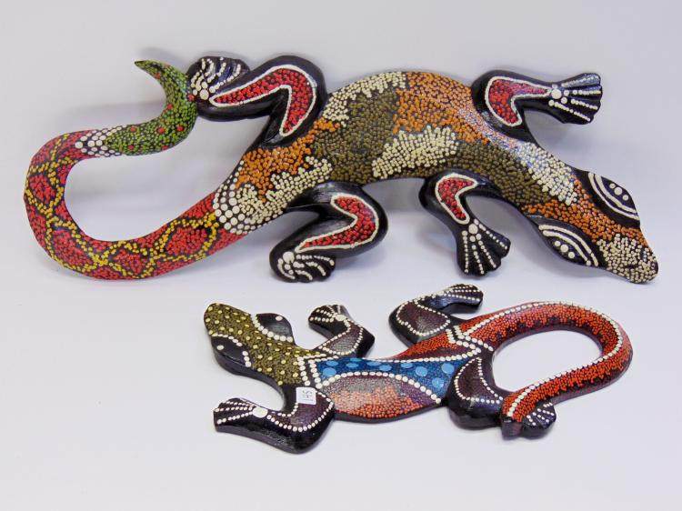 Carved Painted Wood Indonesian Decorative Lizards