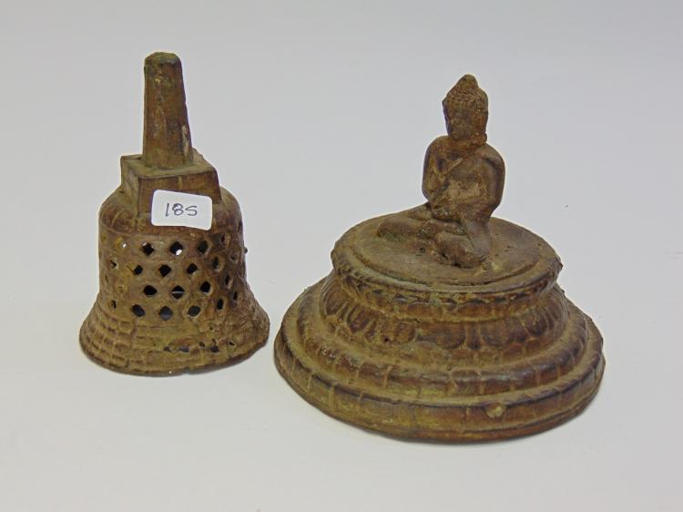 Vintage Bronze Buddha In Stupa Figurine