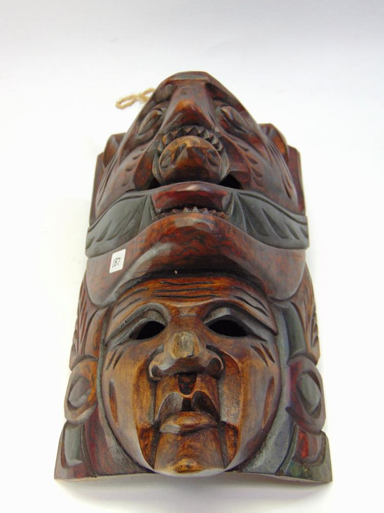 Carved Wood Tribal Mask Wall Hanging