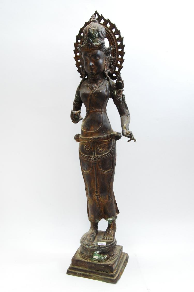 Antique Hollow Bronze Hindhu Deity Statue From Indonesia