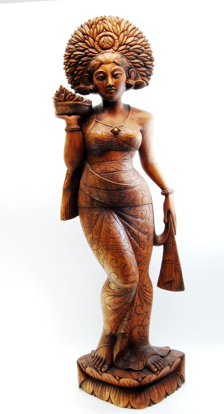 Large Carved Wood Indonesian Lady Statuette