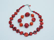 Chunky Red Coral Beaded Necklace And Bracelet