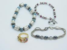 3 Silver Plated Costume Jewelry Bracelets And Multi Stone Cluster Ring