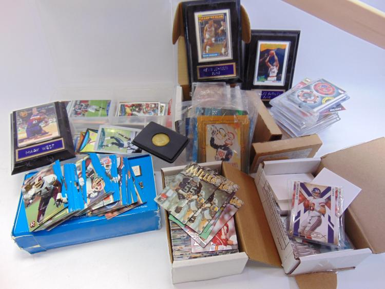 Lot 25: Large Lot of NFL and NBA Coin and Card Collection
