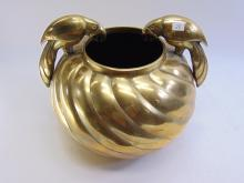 Lot 28: Heavy Large Brass Vintage Parrot Pot