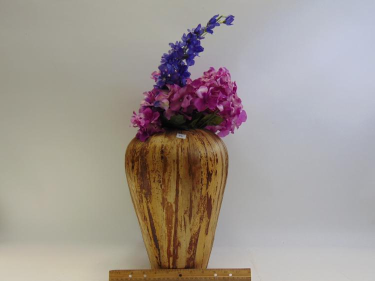 Lot 46: Vintage Corn Husk Decorative Vase with Silk Flowers