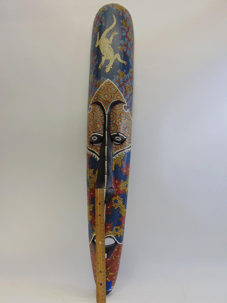 Lot 47: Large Carved Wood and Hand Painted Indonesian Tribal Mask