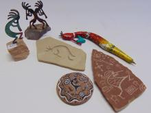 Lot 51: Kokopeli Lot of Signed and Decorative Sculptures Sandstone Carvings and Painting