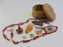 Lot 54: Lot of Smalls Including a Beaded Neckalce in a Lidded Woven Basket
