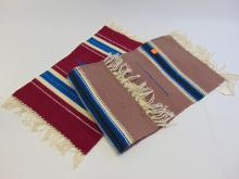 Lot 60: Vintage Hand Woven Wool Miniature Chimayo Rug Lot of Two