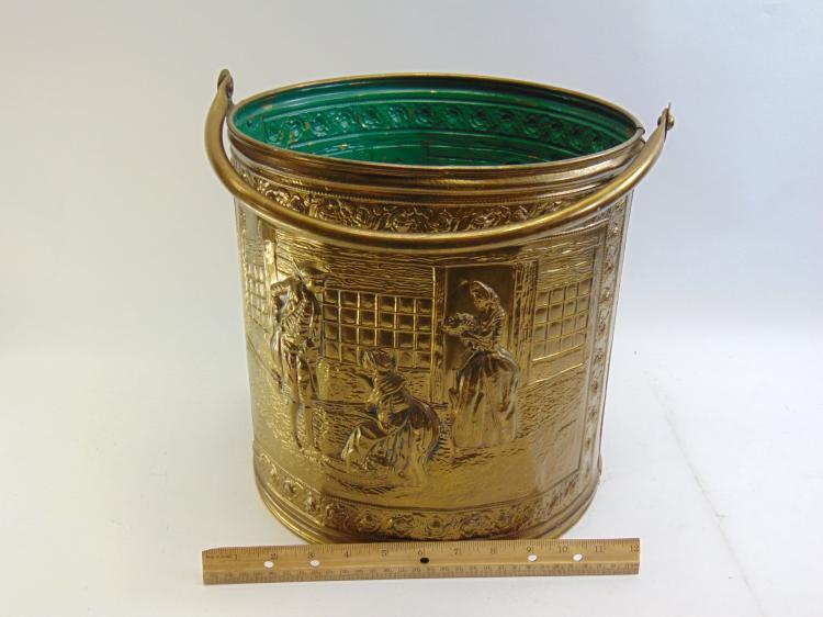 Lot 63: Vintage Elpec England Embossed Colonial Scene Brass Bucket