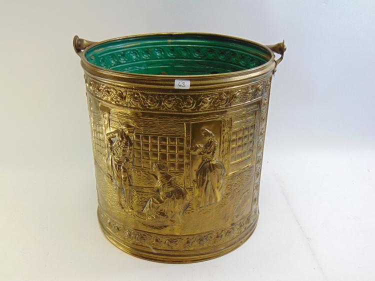 Vintage Elpec England Embossed Colonial Scene Brass Bucket