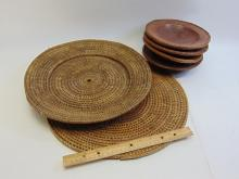 Lot 89: Lot of 6 Woven Wood Decorative Bowls and Trivet
