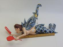 Lot 90: Folk Art Carved Wood Flying Dewie Mermaid Fairy