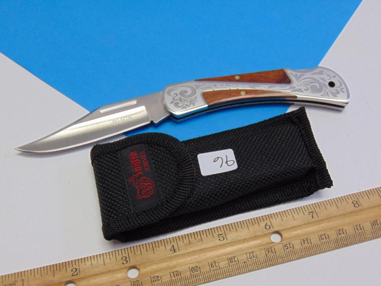 Lot 96: Etched Pocket Knife with Wood Grips and Buck on the Blade