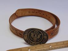 Lot 99: US Air Force Brass Belt Buckle on a Size 36 Chambers Tooled Leather Belt