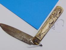 Lot 100: Whaler Susan Scrimshaw in the Style of Civil War Pocket Knife