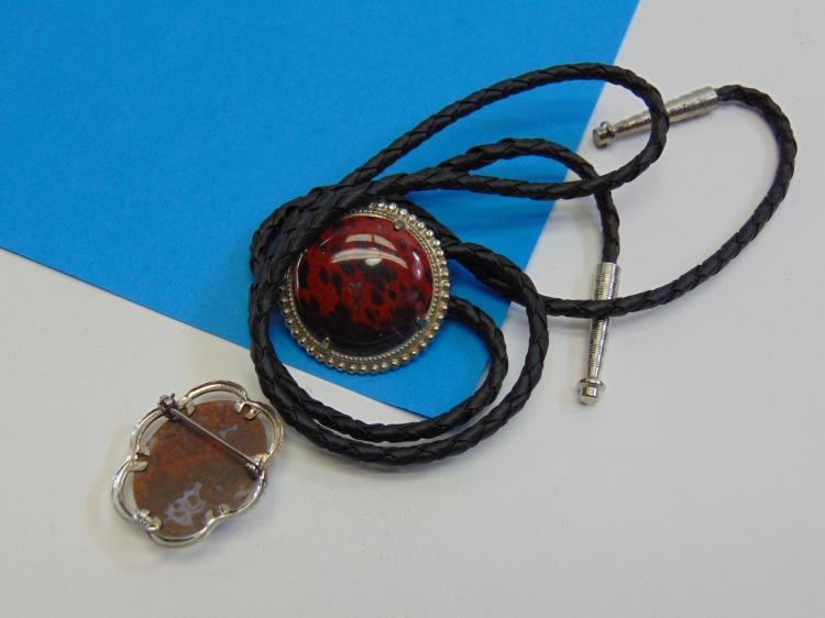 Lot 114: Red Jasper Bolo Tie and Red Jasper Sterling Silver Brooch