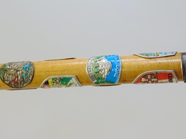 Lot 132: Vintage Cub Scout Walking Stick with Travel Badges From All Over Europe