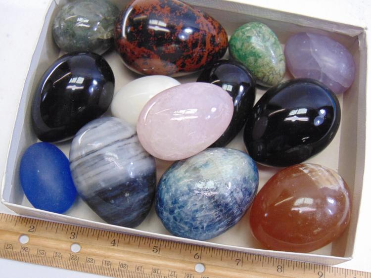 Lot 141: Large Lot of 13 Semi Precious Stone and Glass Eggs