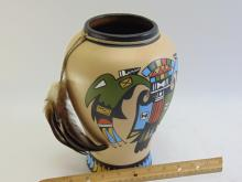 Lot 153: Large Native American Zuni Man Eagle Vase Signed KOPA CH ST 132