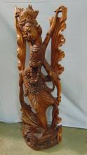 Lot 177: Beautiful Tall Balinese Intricately Hand Carved Dancing Woman Statue