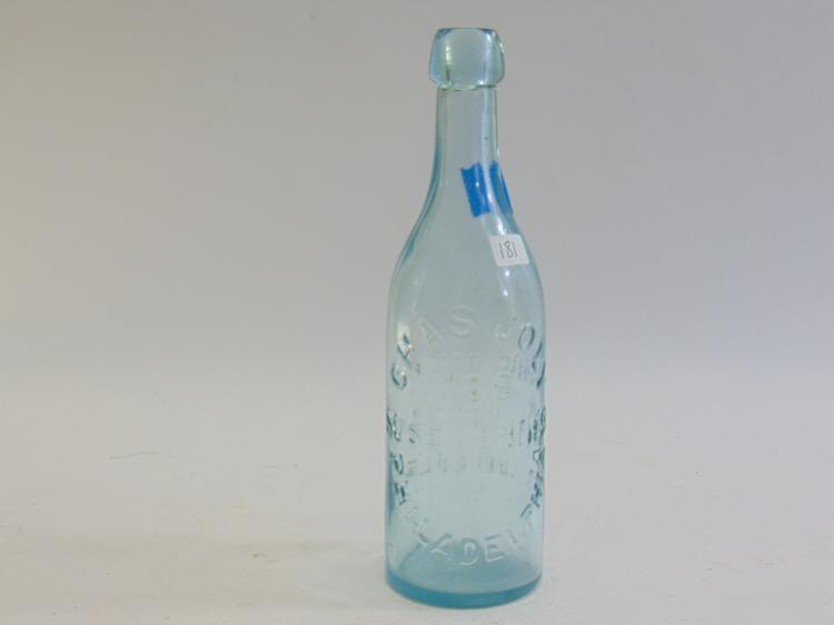 Lot 181: Antique Chas Jolly No 9 Aqua Glass Blob Top Beer or Soda Bottle