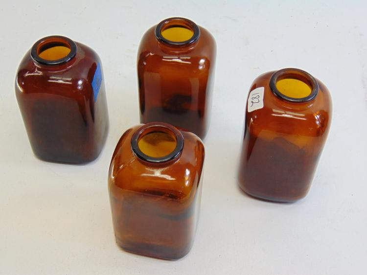 Lot 182: Antique Lot of 4 Amber Glass Snuff Bottles