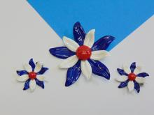 Lot 184: Mid Century Enameled Tin Flower Brooch and Earring Set