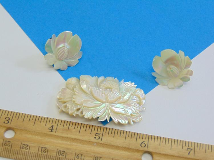 Lot 185: Carved Mother of Pearl Flower Earring and Brooch Set with Sterling Backs