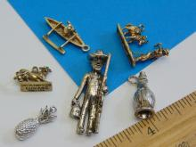 Lot 186: Lot of 6 Small Detailed Sterling and Pineapple Charms