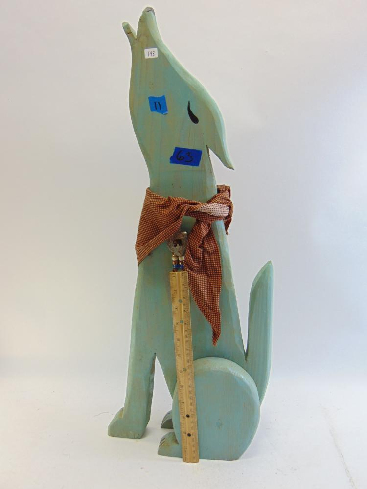 Lot 198: Southwestern Décor Tall Carved Wood Howling Coyote