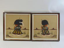 Lot 199: Pair of Navajo Dolls Framed Sand Paintings Signed Ronnie Harvey