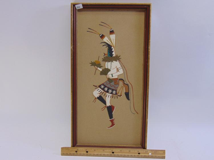 Lot 200: Navajo Yei Bi Chei Dancer Framed Sand Painting Signed Wallace Watchman