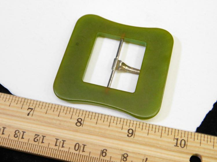 Lot 3: Vintage Green Bakelite Belt Buckle