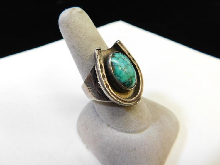 Lot 6: Old Pawn Navajo Sterling Silver Turquoise Horseshoe Mens Ring Size 9
