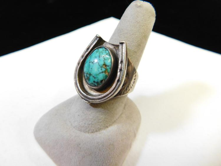 Old Pawn Navajo Sterling Silver Turquoise Horseshoe Mens Ring Size 9