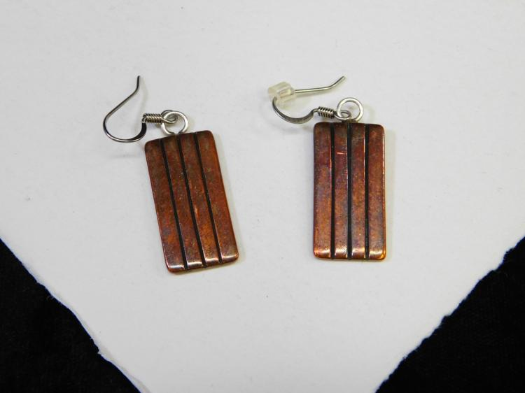 Vintage Navajo Copper Dangle Earrings Signed Mg