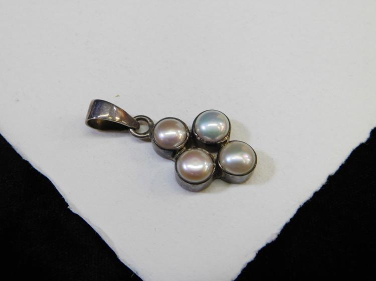 Vintage Sterling Silver Pearl Cluster Fashion Pendant Signed Sheri