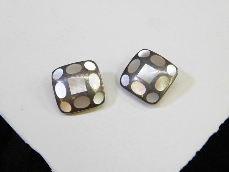 Vintage Sterling Silver Inlaid Mother Of Pearl Clip On Earrings 15.6G