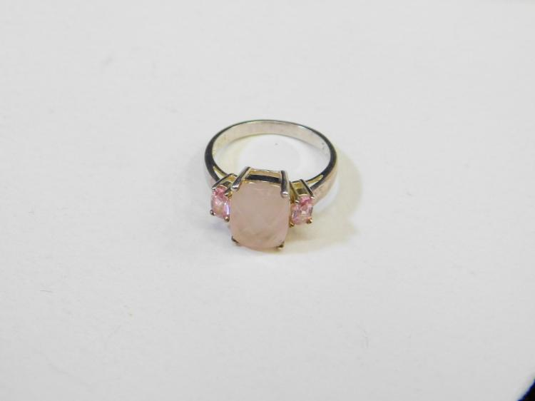 Modern Sterling Silver Rose Quartz Pink Cz Fashion Ring Size 7