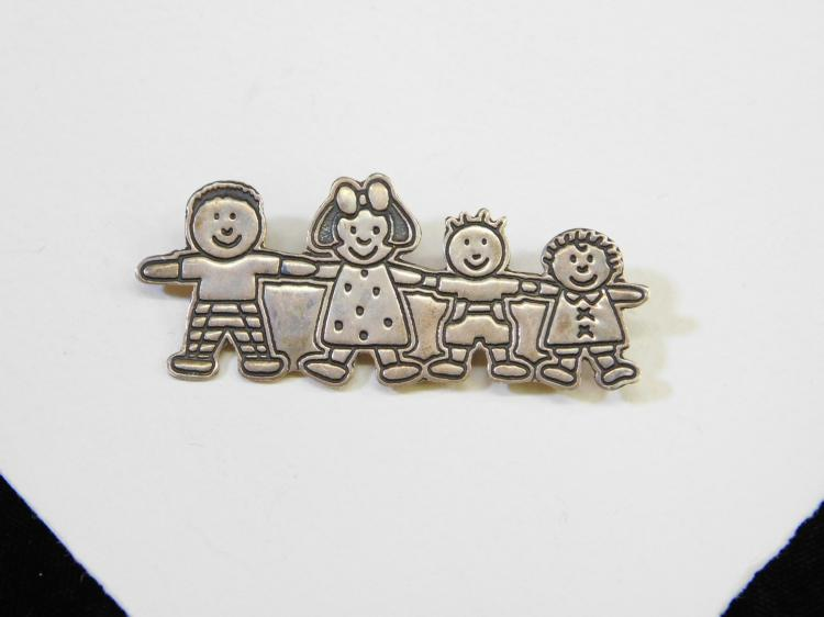 Vintage Mexico Sterling Silver Children Holding Hands Brooch Signed Efs