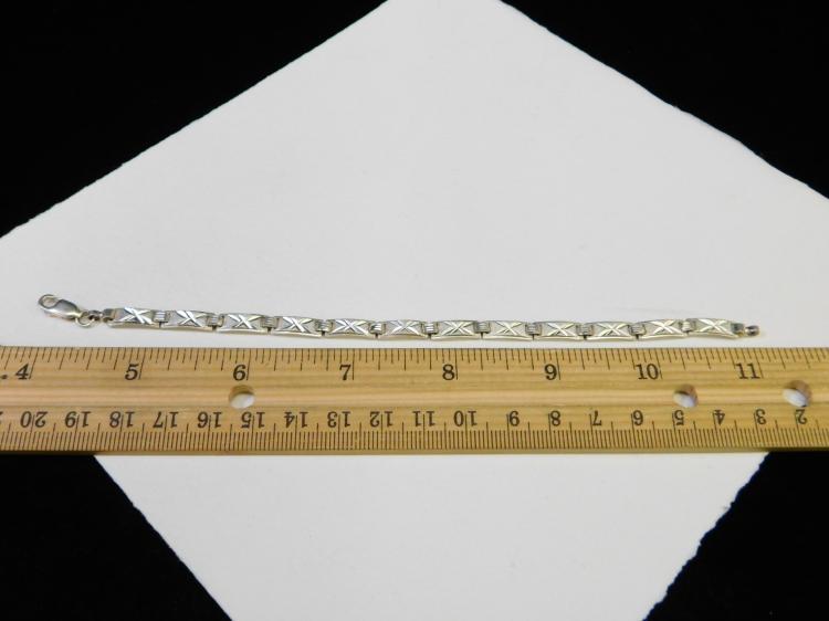 Lot 23: Vintage Italian Sterling Silver Decorated Panel Bracelet Signed Su 8.6G