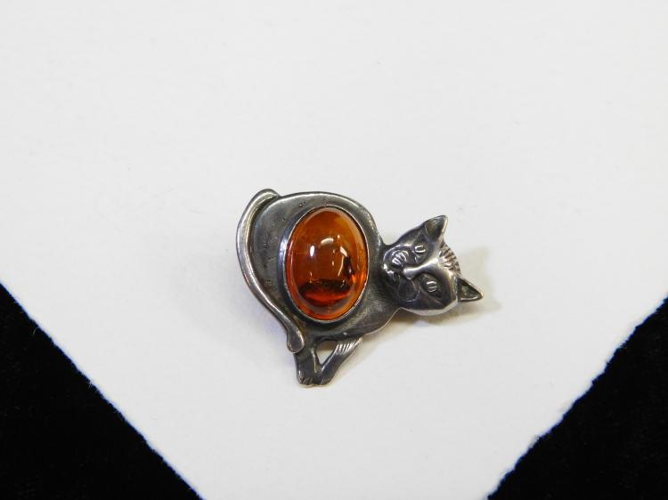 Vintage Sterling Silver Baltic Amber Cat Brooch 4.5G