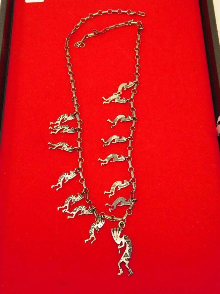 Vintage Navajo Hopi Handmade Sterling Silver Multiple Kokopelli Pendant & Charm Necklace