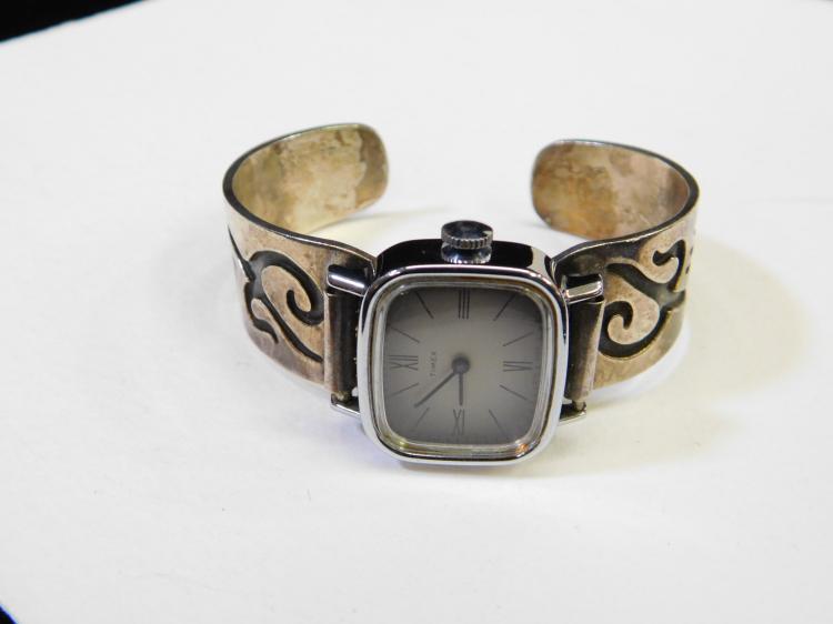 Lot 29: Vintage Hopi Sterling Silver Overlay Cuff Bracelet & Timex Watch 43.8G