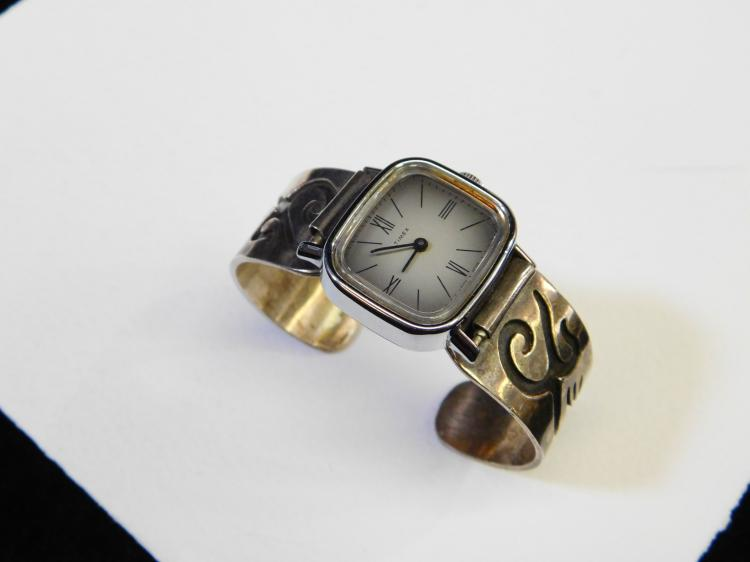 Vintage Hopi Sterling Silver Overlay Cuff Bracelet & Timex Watch 43.8G