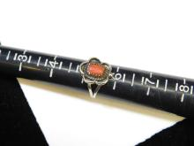 Lot 31: Vintage Navajo Sterling Silver Coral Ring Size 5