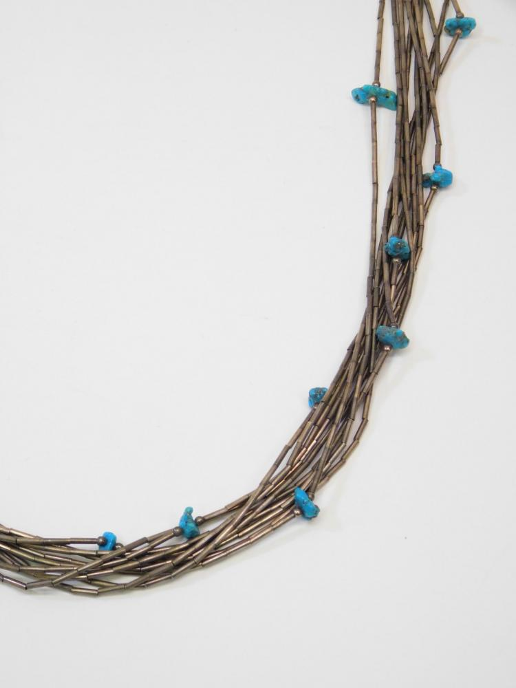 Lot 37: Vintage Navajo Sterling Silver Multi Strand Turquoise Liquid Silver Necklace 57G