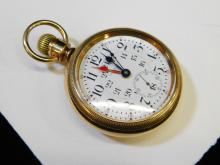 Lot 38: 1911 Thomas Lee Hamilton Railroad 24Hr Dual Timezones 23J Elgin Gold Filled Case